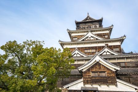 Hiroshima, Japon - 3 Janvier, 2016: Hiroshima développé comme une ville du château, où le château était à la fois le centre physique et économique de la ville. Construit en 1589 par le puissant seigneur féodal Mori Terumoto