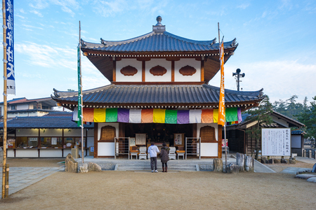 Miyajima, Japan - January 3, 2016: The Itsukushima Shrine in Miyajima, Japan