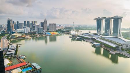 Panorama of Singapore skyline in Singapore city, Singapore.