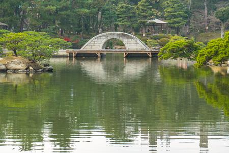 Shukkeien the Japanese style garden in Hiroshima, Japan.