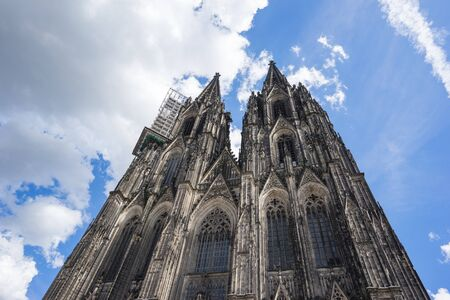 Close up view of Cologne Cathedral in Cologne, Germany.