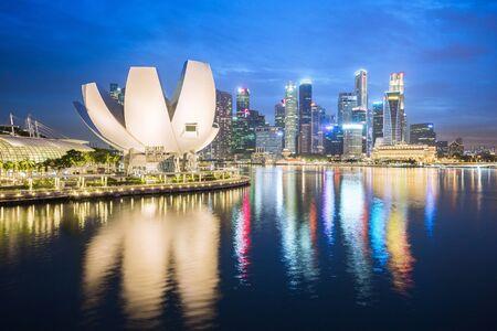 Night view of Singapore city skyline in Singapore city, Singapore.