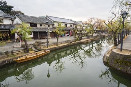Okayama, Japan- January 5 2016: Kurashiki is a historic city located in western Okayama Prefecture, Japan, sitting on the Takahashi River, on the coast of the Inland Sea.
