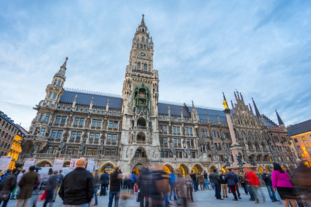 Munich, Germany - April 15, 2016: The Marienplatz is a central square in the city center of Munich, Germany. It has been the citys main square since 1158.
