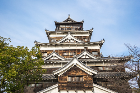 Hiroshima, Japan - January 3, 2016: Hiroshima developed as a castle town, whereby the castle was both the physical and economical center of the city. Built in 1589 by the powerful feudal lord Mori Terumoto