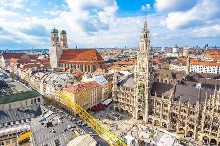 Munich skyline and view of Marienplatz town hall in Munich, Germany. Éditoriale