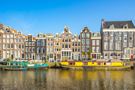 Canal House in Amsterdam city, Netherlands. Banque d'images