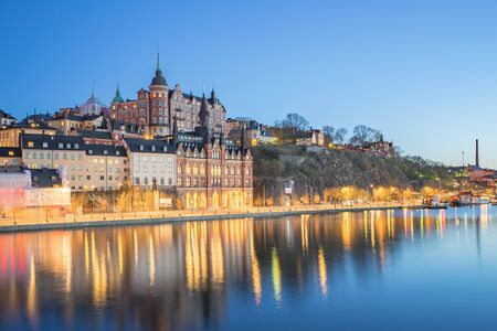 View of Stockholm city skyline at night in Sweden Banque d'images