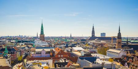Panorama view of Copenhagen city in Denmark.