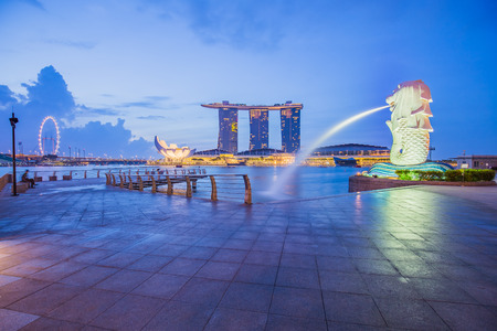 Singapore City, Singapore - July 18, 2015: The Merlion and Marina Bay Sands in city center of Singapore.