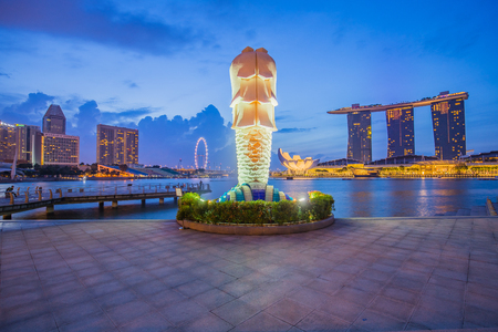 Singapore City, Singapore - July 18, 2015: The Merlion and buidling in city center of Singapore.