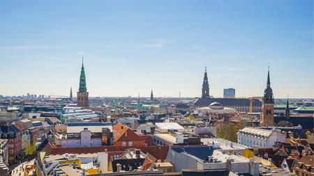 Copenhagen city skyline in Copenhagen, Denmark.