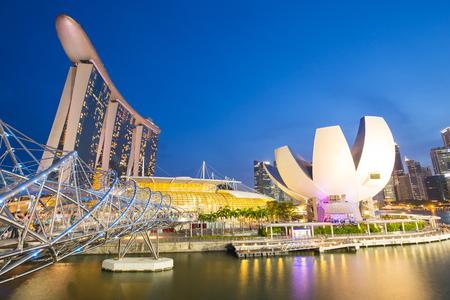 Marina Bay la nuit à Singapour, Singapour.