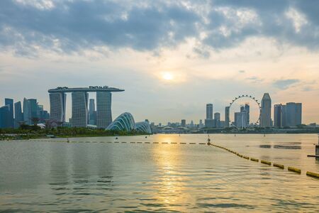 View of Marina Bay in Singapore city.