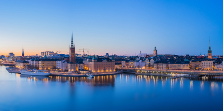 Panorama view of Stockholm skyline in Stockholm city, Sweden. Banco de Imagens
