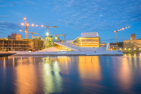 The Oslo Opera House in Oslo city at night in Norway.