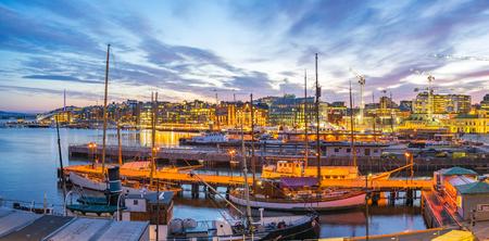 Ville de Port d'Oslo en Norvège. Banque d'images - 79055793