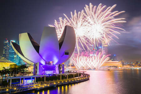 Singapore city, Singapore - July 18, 2015: Fireworks of SG50 celebrations in Singapore city, Singapore.