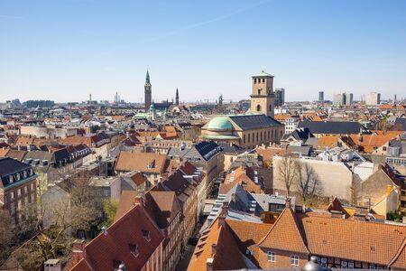 Copenhagen city Skyline in Denmark.