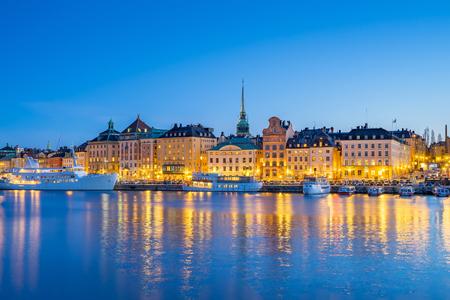 Gamla Stan at night in Stockholm city, Sweden. Banque d'images