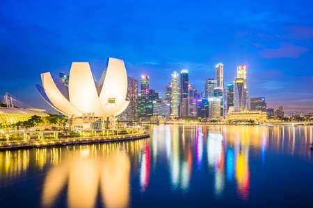 Horizon de Singapour, vue de la ville de Singapour la nuit.