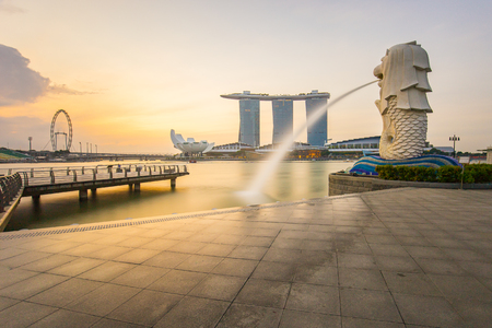 Singapore City, Singapore - July 18, 2015: Merlion of Singapore city with Marina Bay Sands.
