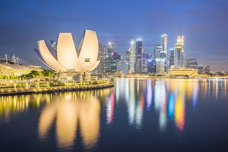 Night view of Singapore cityscape skyline. Éditoriale