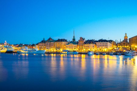 Gamla Stan at night in Stockholm city, Sweden. Editorial