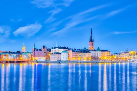 Stockholm cityscape at night in Sweden. Stock Photo