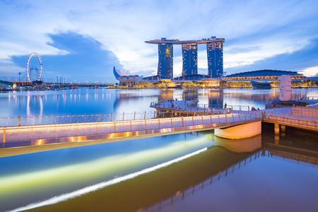 Singapore City, Singapore - July 18, 2015: Singapore city center at night.