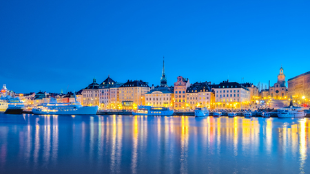 Panorama view of Stockholm cityscape at night in Sweden.