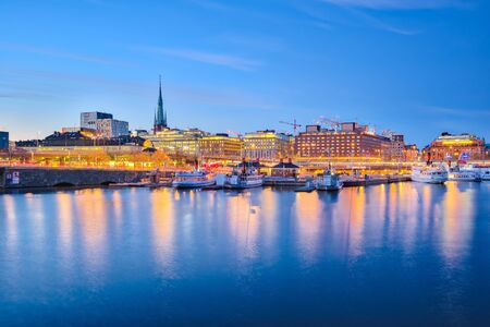 Stockholm cityscape at night in Sweden. Banque d'images
