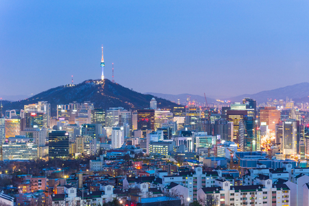 Seoul cityscape at night in South Korea.