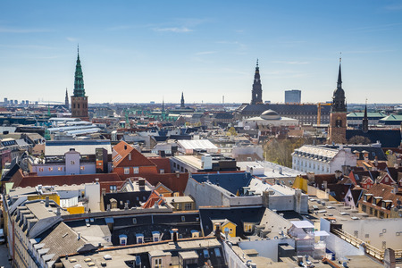 Copenhagen city Skyline in Denmark.