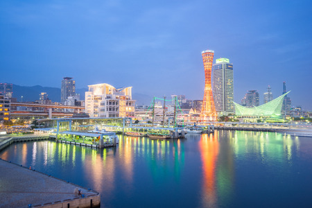 Kobe, Japan - January 5, 2016: Kobe port with Kobe tower in Japan.