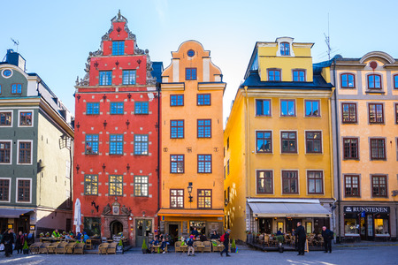Stockholm, Sweden - May 4, 2017: Gamla Stan, the Old Town, is one of the largest and best preserved medieval city centers in Europe, and one of the foremost attractions in Stockholm. Éditoriale