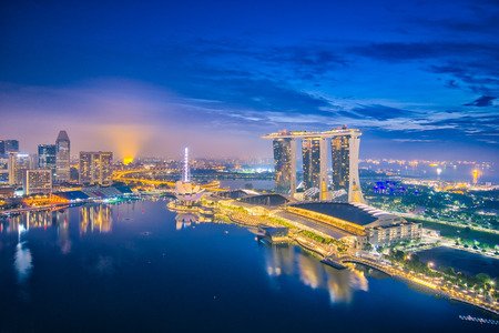 Singapore city skyline and view of bay in Singapore. Éditoriale