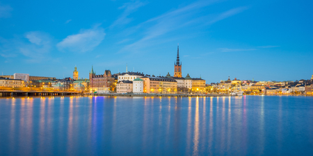 Night view of Stockholm city skyline in Sweden.