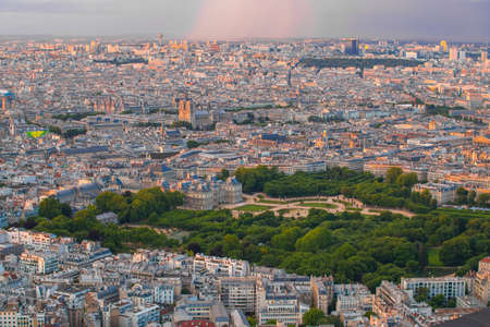 Paris city at sunset in France.