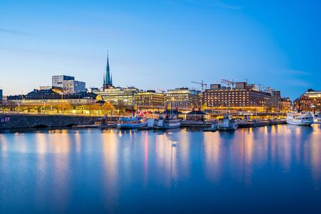 View of Stockholm city at night in Sweden.