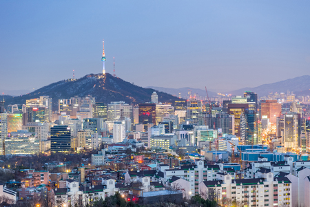 Cityscape of Seoul city, South Korea.