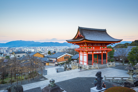 Kyoto, Japan - December 31, 2015: Kyoto cityscape with Kiyomizu Dera Temple in Kyoto, Japan.