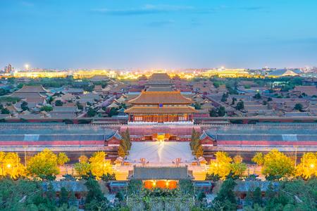 De verboden stad 's nachts in Beijing, China.