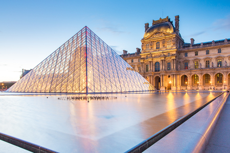 Paris, France - May 14, 2014: Sunset view of Louvre Museum in Paris, France.