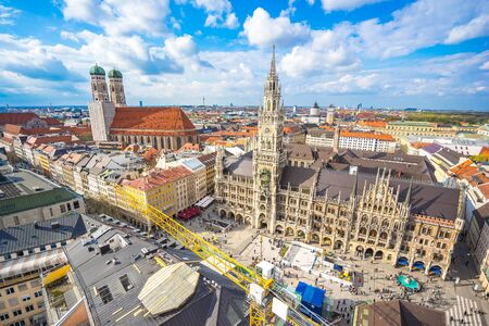 Marienplatz town hall and Frauenkirche in Munich, Germany.