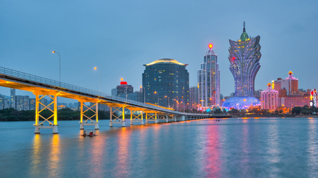 Macau city with Nam Van Lake at twilight in China.