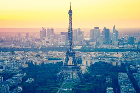 Eiffel Tower with sunset in Paris, France.
