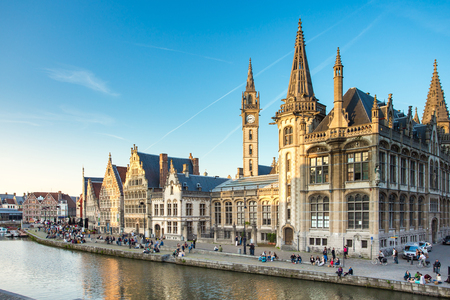 The Graslei quay in the historic city center of Ghent, Belgium. Editorial