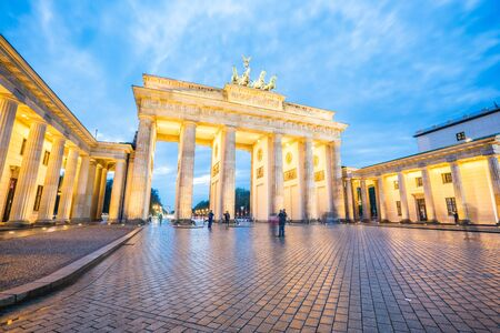 Night view of Brandenburg Gate in Berlin city, Germany. Éditoriale