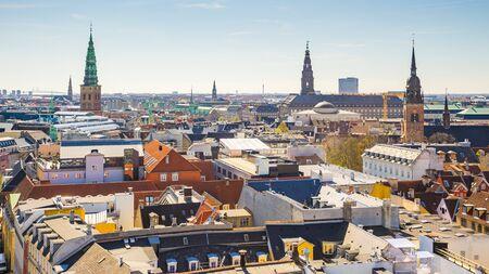 Skyline of Copenhagen city in Denmark.
